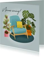 Hippe felicitatiekaart nieuwe woning met planten en stoel