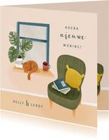 Hippe felicitatiekaart nieuwe woning met raam, stoel en kat