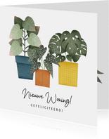 Hippe felicitatiekaart nieuwe woning planten en typografie