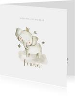 Hippe geboortekaart met olifantje en sterren