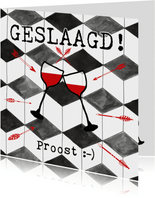 Hippe geslaagd kaart met twee glazen wijn en zwarte ruit