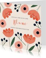Hippe Grußkarte mit Blumen
