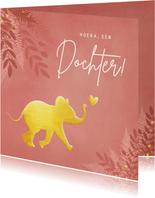 Hippe jungle felicitatiekaart geboorte met gouden olifant