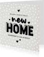 Hippe kerst verhuiskaart new home hartjes en sneeuw