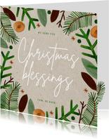 Hippe kerstkaart Christmas Blessings groene takjes op papier
