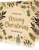 Hippe kerstkaart kersttakjes kader gouden Merry Christmas