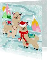 Hippe kerstkaart met alpaca in de sneeuw