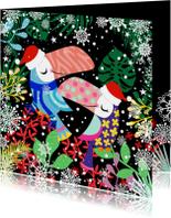 Hippe kerstkaart met toekans en planten in de sneeuw