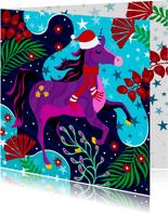 Hippe kerstkaart met unicorn