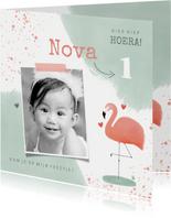 Hippe kinderfeestje uitnodiging 1e verjaardag flamingo