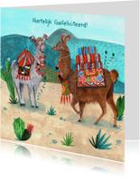 Hippe Lama verjaardagskaart