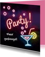 Hippe neon uitnodiging  / felicitatiekaart