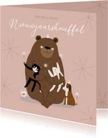 Hippe nieuwjaarskaart dikke knuffel dieren roze illustratie