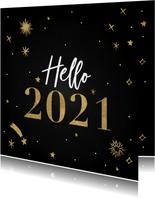 Hippe nieuwjaarskaart Hello 2021 met vuurwerk en sterren