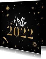 Hippe nieuwjaarskaart Hello 2022 met vuurwerk en sterren