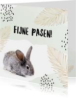 Paaskaarten - Hippe paaskaart konijn en waterverf