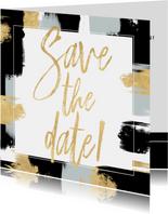 Hippe Save the Date kaart verf strepen en gouden typografie