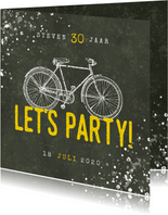 Hippe uitnodiging 30 jaar met fiets, Let's Party en spetters