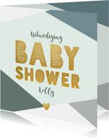 Hippe uitnodiging babyshower blauwe vlakken en gouden test
