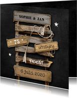 Uitnodiging feest Drijfhout pallet op krijtbord