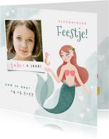 Hippe uitnodiging kinderfeestje zeemeermin zeepaardje & foto