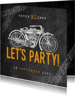 Hippe uitnodiging verjaardag 30 jaar met motor & Let's Party