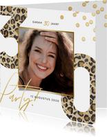 Hippe uitnodiging verjaardag 30 jaar panterprint en party!