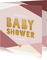 Hippe uitnodiging voor een babyshower met gekleurde vlakken