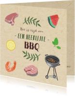 Hippe uitnodigingskaart voor een BBQ met illustraties