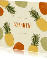 Hippe vakantiekaart ananassen abstract tropisch patroon