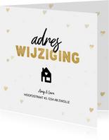 Hippe verhuiskaart adreswijziging hartjes en huisje