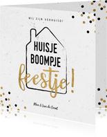 Hippe verhuiskaart met huisje boompje feestje en confetti