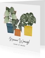 Hippe verhuiskaart met planten en tekst 'Nieuwe Woning!'