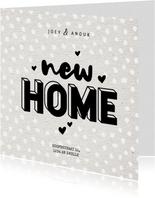 Hippe verhuiskaart typografie new home, kraft en hartjes