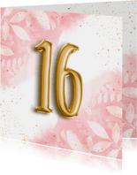 Hippe verjaardagskaart 16 botanisch waterverf & folieballon