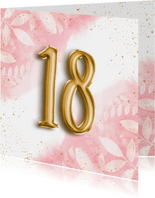 Hippe verjaardagskaart 18 waterverf botanisch & folieballon