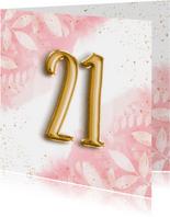 Hippe verjaardagskaart 21 botanisch, waterverf & folieballon