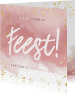 Hippe verjaardagskaart Feest! Roze waterverf gouden spetters