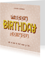 Hippe verjaardagskaart happy birthday to you! typografie