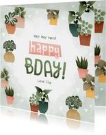 Hippe verjaardagskaart met plantjes, hartjes Happy Bday!