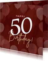 Hippe verjaardagskaart vrouw 50 jaar met ballonnen roze