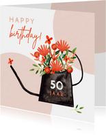 Hippe verjaardagskaart vrouw bloemen in gieter rood jaartal