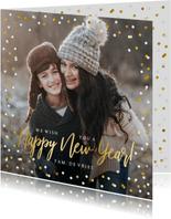 Hippe vierkante nieuwjaarskaart met eigen foto en confetti