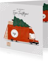 Hippe zakelijke kerstkaart transportbedrijf bus kerstboom