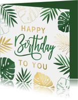 Hippe zomerse jungle verjaardagskaart met Monstera bladeren