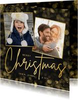 Hippe zwarte kerstkaart met gouden Christmas en 2 foto's