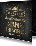 Hippe zwarte krijtbord vaderdagkaart met goudlook typografie