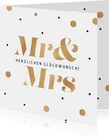 Hochzeit Glückwunschkarte Konfetti Mr. & Mrs.