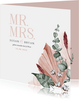 Hochzeitseinladung rosé Trockenblumen und Foto innen