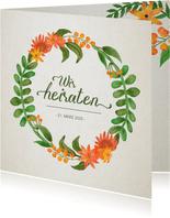 Hochzeitseinladung Vintage Blumen Quadrat